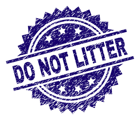 DO NOT LITTER stamp seal watermark with distress style. Blue vector rubber print of DO NOT LITTER title with retro texture.