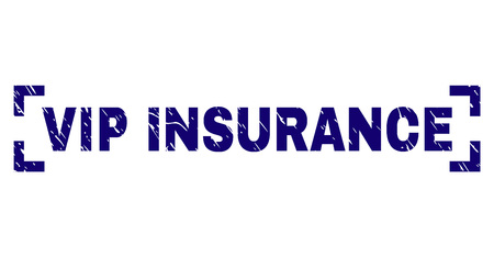 VIP INSURANCE tag seal print with grunge texture. Text tag is placed between corners. Blue vector rubber print of VIP INSURANCE with dust texture.