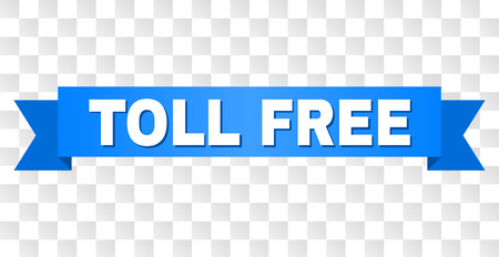 TOLL FREE text on a ribbon. Designed with white title and blue tape. Vector banner with TOLL FREE tag on a transparent background. 向量圖像