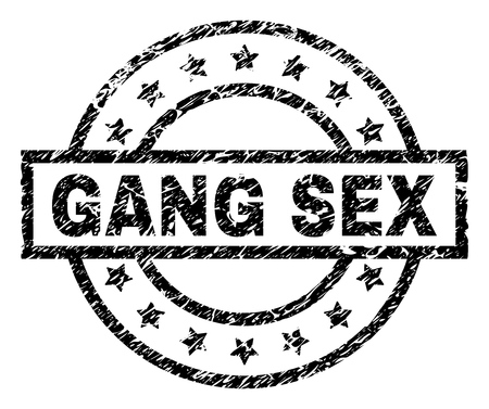 GANG SEX stamp seal watermark with distress style. Designed with rectangle, circles and stars. Black vector rubber print of GANG SEX tag with dirty texture. Illustration