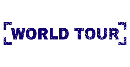 WORLD TOUR text seal stamp with grunge effect. Text tag is placed inside corners. Blue vector rubber print of WORLD TOUR with dust texture. Illustration
