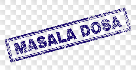 MASALA DOSA stamp seal watermark with rubber print style and double framed rectangle shape. Stamp is placed on a transparent background.
