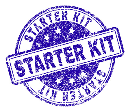 STARTER KIT stamp seal imprint with grunge texture. Designed with rounded rectangles and circles. Blue vector rubber print of STARTER KIT tag with grunge texture.