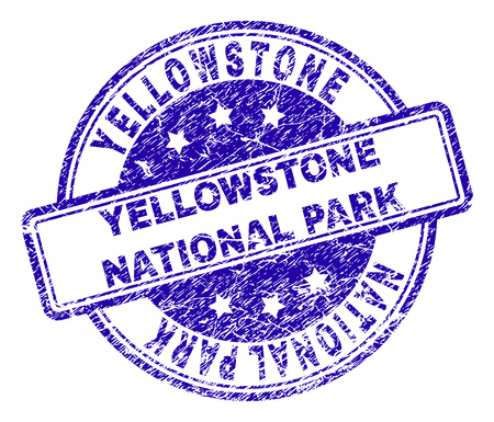 YELLOWSTONE NATIONAL PARK stamp seal watermark with grunge texture. Designed with rounded rectangles and circles. Blue vector rubber print of YELLOWSTONE NATIONAL PARK title with retro texture. Illustration