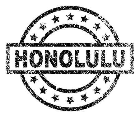 HONOLULU stamp seal watermark with distress style. Designed with rectangle, circles and stars. Black vector rubber print of HONOLULU label with retro texture. Illustration