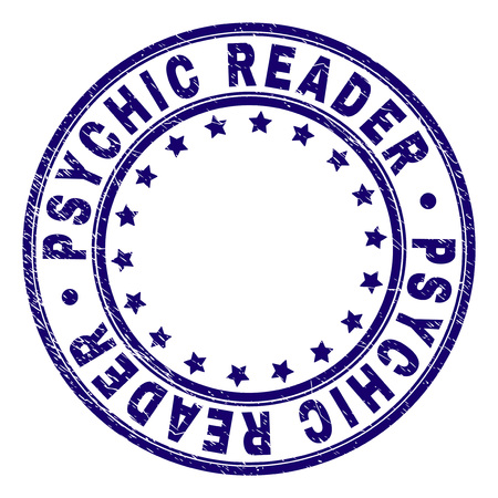 PSYCHIC READER stamp seal watermark with distress texture. Designed with circles and stars. Blue vector rubber print of PSYCHIC READER label with scratched texture. Stockfoto - 127712490
