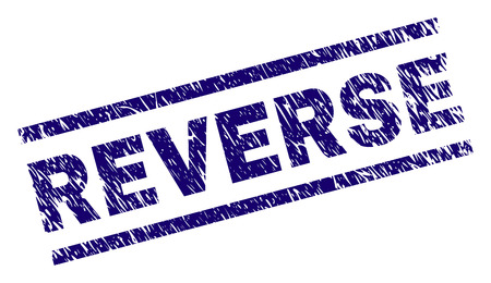 REVERSE seal imprint with grunge style. Blue vector rubber print of REVERSE title with scratched texture. Text title is placed between parallel lines.