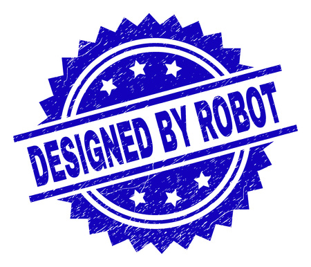 DESIGNED BY ROBOT stamp seal watermark with distress style. Blue vector rubber print of DESIGNED BY ROBOT title with grunge texture. Illustration