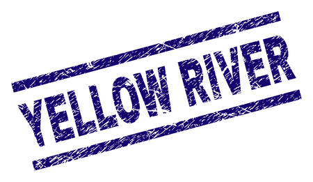 YELLOW RIVER seal print with grunge style. Blue vector rubber print of YELLOW RIVER text with dirty texture. Text tag is placed between parallel lines. Foto de archivo - 127712531