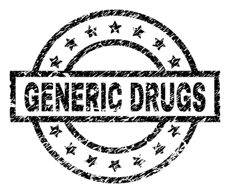 GENERIC DRUGS stamp seal watermark with distress style. Designed with rectangle, circles and stars. Black vector rubber print of GENERIC DRUGS label with unclean texture.