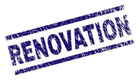 RENOVATION seal print with distress style. Blue vector rubber print of RENOVATION caption with dirty texture. Text caption is placed between parallel lines.