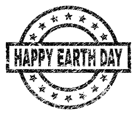 HAPPY EARTH DAY stamp seal watermark with distress style. Designed with rectangle, circles and stars. Black vector rubber print of HAPPY EARTH DAY title with grunge texture.