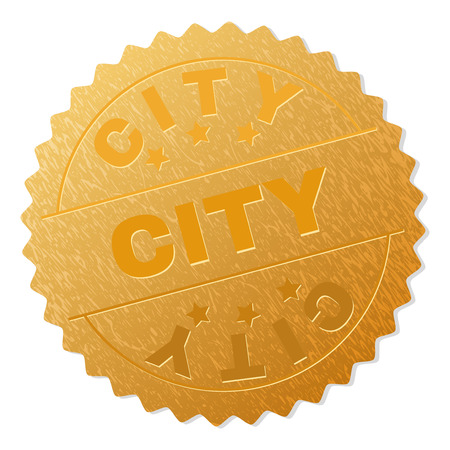 CITY gold stamp reward. Vector golden medal with CITY text. Text labels are placed between parallel lines and on circle. Golden surface has metallic effect. Vector Illustration
