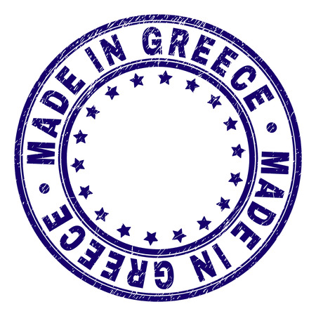 MADE IN GREECE stamp seal imprint with grunge style. Designed with round shapes and stars. Blue vector rubber print of MADE IN GREECE caption with grunge texture. Ilustrace