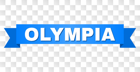 OLYMPIA text on a ribbon. Designed with white title and blue stripe. Vector banner with OLYMPIA tag on a transparent background. Illustration