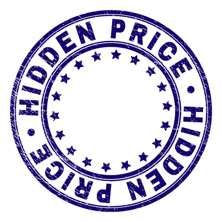 HIDDEN PRICE stamp seal imprint with grunge texture. Designed with circles and stars. Blue vector rubber print of HIDDEN PRICE caption with grunge texture.