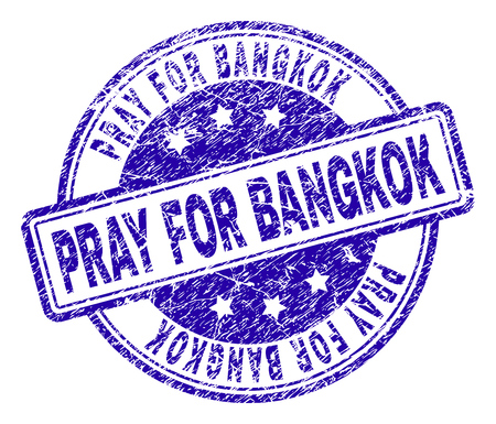 PRAY FOR BANGKOK stamp seal watermark with grunge texture. Designed with rounded rectangles and circles. Blue vector rubber print of PRAY FOR BANGKOK caption with grunge texture. Illustration