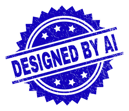 DESIGNED BY AI stamp seal watermark with distress style. Blue vector rubber print of DESIGNED BY AI caption with dust texture.