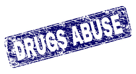 DRUGS ABUSE stamp seal print with distress style. Seal shape is a rounded rectangle with frame. Blue vector rubber print of DRUGS ABUSE tag with unclean style.