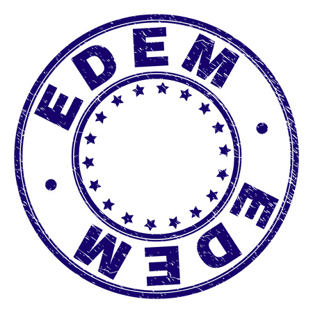 EDEM stamp seal imprint with grunge texture. Designed with circles and stars. Blue vector rubber print of EDEM caption with grunge texture.