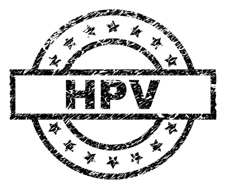 HPV stamp seal watermark with distress style. Designed with rectangle, circles and stars. Black vector rubber print of HPV caption with retro texture.