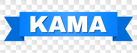 KAMA text on a ribbon. Designed with white caption and blue tape. Vector banner with KAMA tag on a transparent background. Illustration