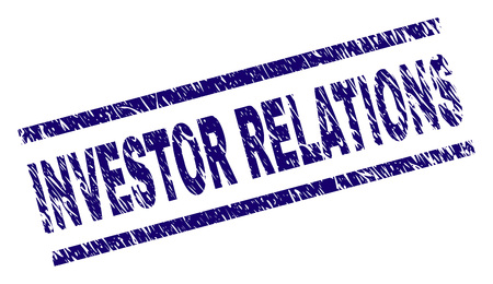 INVESTOR RELATIONS seal print with grunge style. Blue vector rubber print of INVESTOR RELATIONS text with retro texture. Text label is placed between parallel lines.  イラスト・ベクター素材