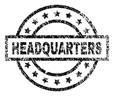 HEADQUARTERS stamp seal watermark with distress style. Designed with rectangle, circles and stars. Black vector rubber print of HEADQUARTERS label with grunge texture. Ilustrace