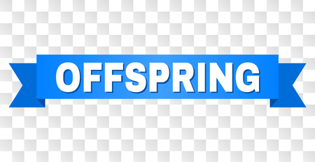 OFFSPRING text on a ribbon. Designed with white caption and blue stripe. Vector banner with OFFSPRING tag on a transparent background.