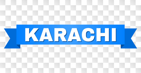 KARACHI text on a ribbon. Designed with white title and blue stripe. Vector banner with KARACHI tag on a transparent background. Illustration