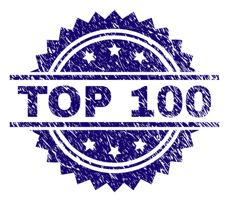TOP 100 stamp seal watermark with distress style. Blue vector rubber print of TOP 100 caption with corroded texture.