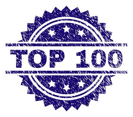 TOP 100 stempelzegel watermerk met noodstijl. Blauwe vectorrubberafdruk van TOP 100-bijschrift met gecorrodeerde textuur.