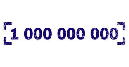 1000000000 caption seal imprint with distress texture. Text caption is placed between corners. Blue vector rubber print of 1000000000 with grunge texture.