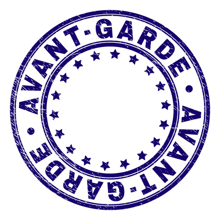 AVANT-GARDE stamp seal imprint with grunge texture. Designed with circles and stars. Blue vector rubber print of AVANT-GARDE text with grunge texture.
