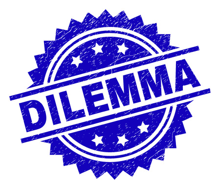 DILEMMA stamp seal watermark with distress style. Blue vector rubber print of DILEMMA title with unclean texture. Illustration