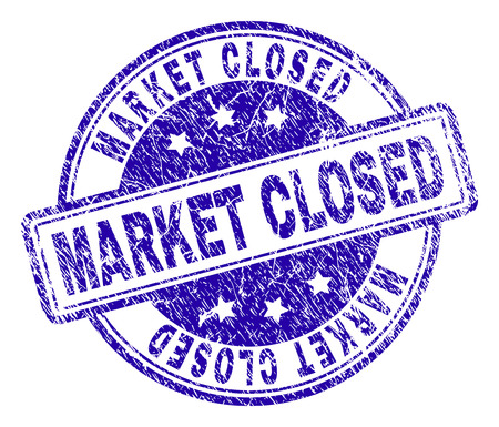 MARKET CLOSED stamp seal imprint with grunge effect. Designed with rounded rectangles and circles. Blue vector rubber print of MARKET CLOSED title with grunge texture.