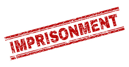 IMPRISONMENT seal print with distress texture. Red vector rubber print of IMPRISONMENT title with scratched texture. Text title is placed between double parallel lines.