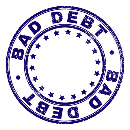 BAD DEBT stamp seal watermark with grunge texture. Designed with round shapes and stars. Blue vector rubber print of BAD DEBT caption with unclean texture.