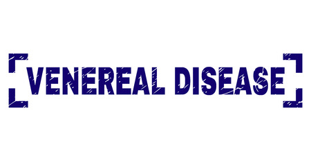 VENEREAL DISEASE text seal print with corroded texture. Text tag is placed inside corners. Blue vector rubber print of VENEREAL DISEASE with retro texture.