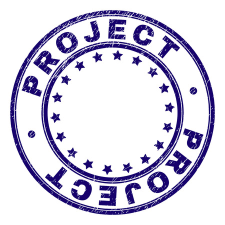 PROJECT stamp seal imprint with grunge effect. Designed with circles and stars. Blue vector rubber print of PROJECT title with grunge texture. Ilustração
