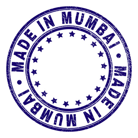 MADE IN MUMBAI stamp seal imprint with grunge texture. Designed with circles and stars. Blue vector rubber print of MADE IN MUMBAI tag with grunge texture. Ilustrace