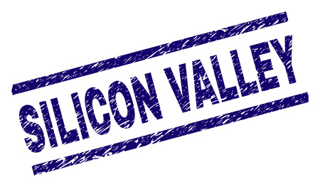 SILICON VALLEY seal print with grunge style. Blue vector rubber print of SILICON VALLEY tag with dirty texture. Text tag is placed between parallel lines.