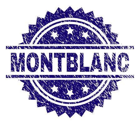 MONTBLANC stamp seal watermark with distress style. Blue vector rubber print of MONTBLANC tag with dirty texture. Illustration