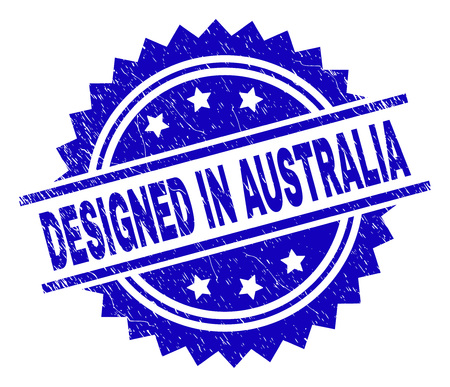 DESIGNED IN AUSTRALIA stamp seal watermark with distress style. Blue vector rubber print of DESIGNED IN AUSTRALIA label with corroded texture.