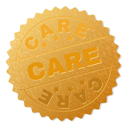 CARE gold stamp award. Vector golden award with CARE text. Text labels are placed between parallel lines and on circle. Golden surface has metallic texture.