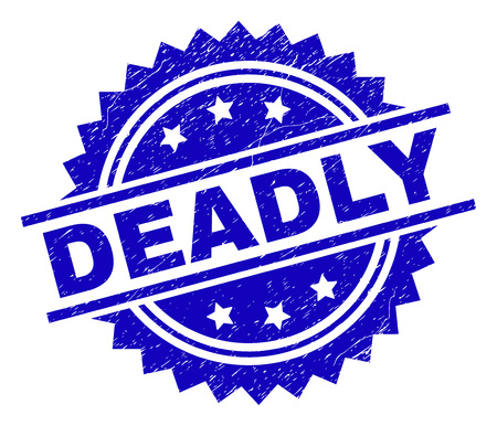 DEADLY stamp seal watermark with distress style. Blue vector rubber print of DEADLY tag with scratched texture.