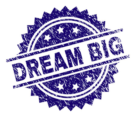 DREAM BIG stamp seal watermark with distress style. Blue vector rubber print of DREAM BIG title with scratched texture.  イラスト・ベクター素材