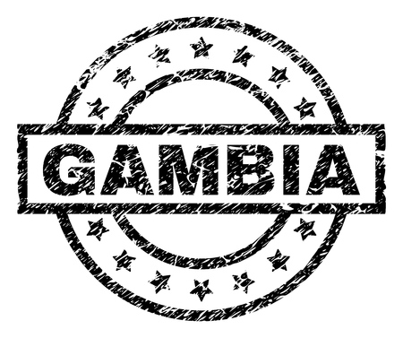 GAMBIA stamp seal watermark with distress style. Designed with rectangle, circles and stars. Black vector rubber print of GAMBIA tag with grunge texture.
