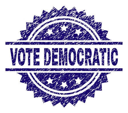 VOTE DEMOCRATIC stamp seal watermark with distress style. Blue vector rubber print of VOTE DEMOCRATIC text with unclean texture.