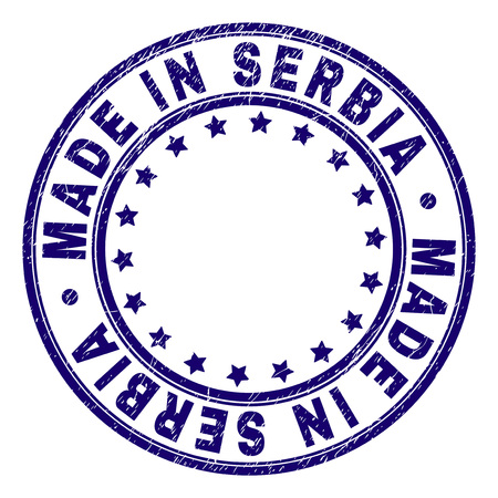 MADE IN SERBIA stamp seal imprint with grunge texture. Designed with circles and stars. Blue vector rubber print of MADE IN SERBIA text with grunge texture. Ilustração